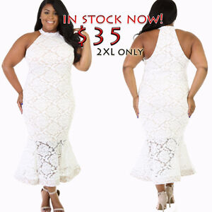 2XL mermaid maxi dress with lace accents and nude illusion white