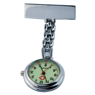 Pendant Brooch Pocket Luminous Dial Watch for Nurse Doctor Silver Light-weigh