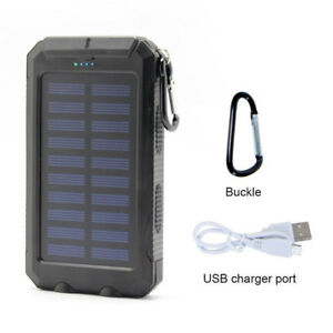Solar Power Charger & Power Bank - 2 LED Lights, Compass