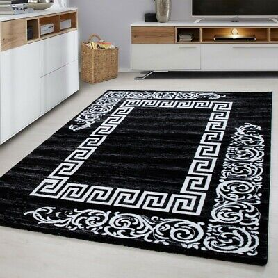 Oriental Rugs Versace Style Black Grey Cream Mat Small Large Modern New Carpet