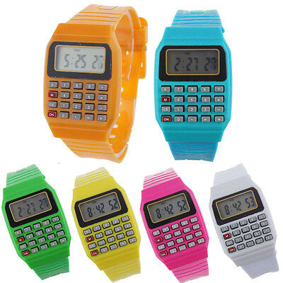 Unsex Silicone Multi-Purpose Date Time Electronic Wrist Calculator Watch