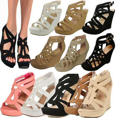 NEW WOMEN HIGH HEEL WEDGE GLADIATOR STRAPPY OPEN TOE PLATFORM SANDAL GIRL (Heel Strappy Platform Sandal)