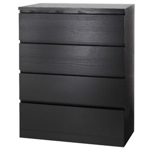 3 month old MALM 4-drawer chest, black-brown