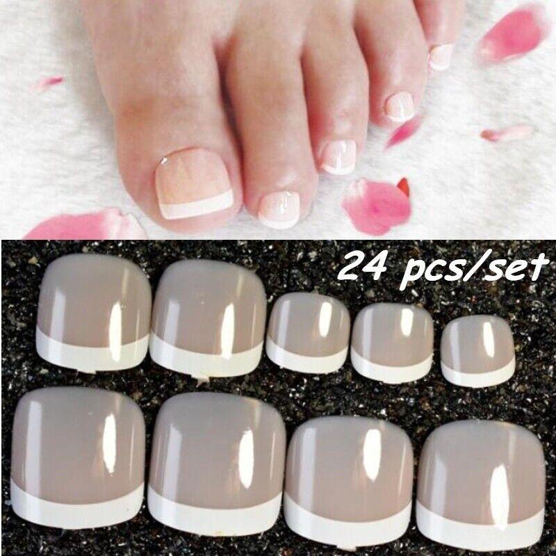 Details About 24pcs False Toenail Tips Set French Full Cover Fake Toe Nail Tips Diy Manicure