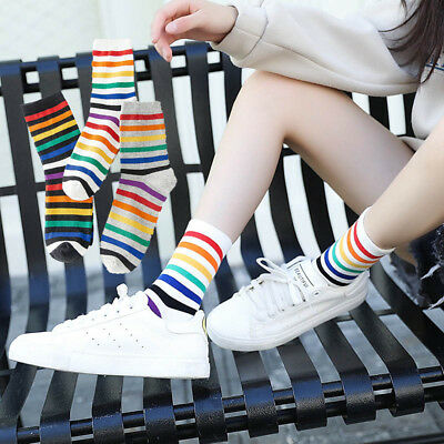 Rainbow Socks Cotton Short Tube College Stripe Socks Women Girls Funny Colorful - Short Girls Tube
