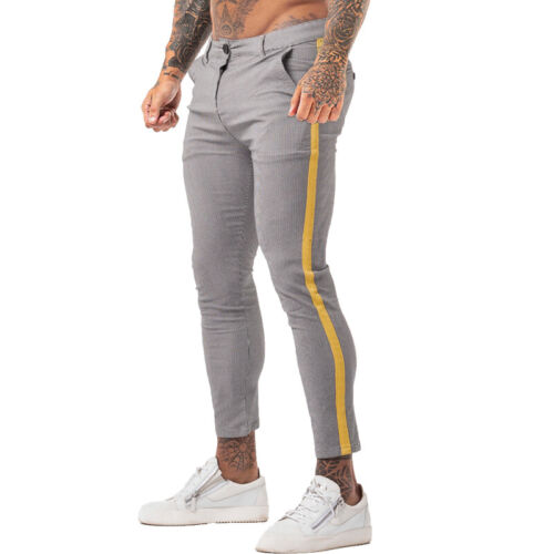 Gingtto Men Slim Fit Chino Pants Stretch Skinny Dress Trousers Yellow Striped