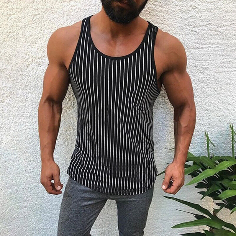 Men/'s Gym Sleeveless Tank Top Tee Shirt Sport Fitness Casual Striped Vest Top Y2
