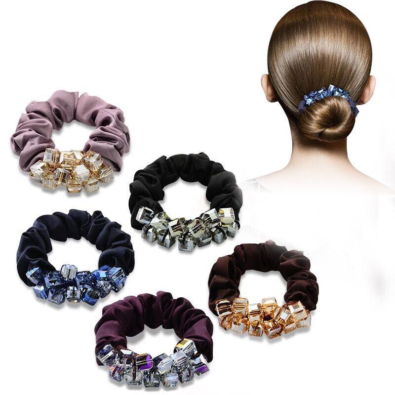 Fashion Women Beaded Scrunchie Elastic Hair Band Ties Ponytail Hair Accessories