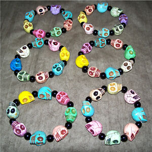 Rainbow Dyed Stone Skull Bead stretchy Bracelets for Sale!