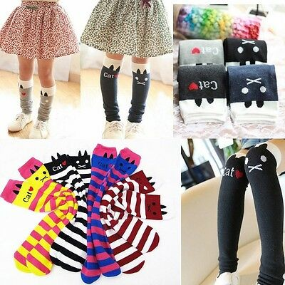 Striped Tights For Kids (Toddlers Kids Girls Cotton Cat Striped Soft Knee High Socks 1-8Y Tights)