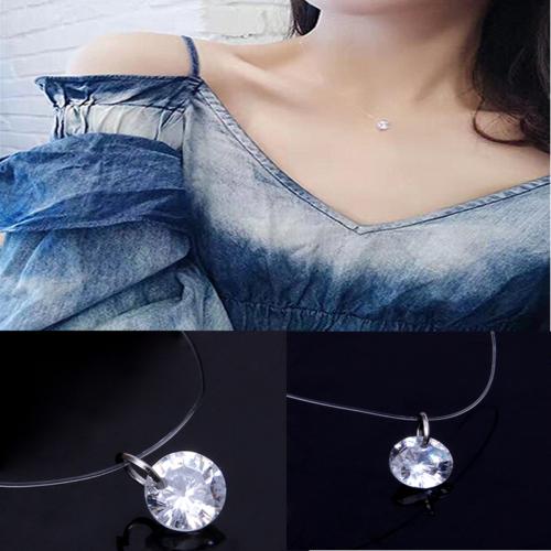 invisible cubic zirconia pendant necklace women transparent