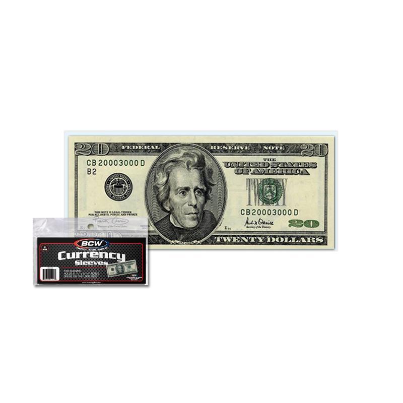 100 BCW Regular Bill Currency Sleeves - Protectors - Money Holders