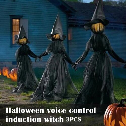 HALLOWEEN BLACK LIGHT-UP WITCHES Stakes Holding Hands Screaming Witches Sound
