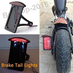 Black Side Mount Tail Light License Plate Bracket Chopper Bobber For Harley
