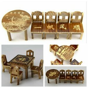 Toy dollhouse miniature furniture wooden mini dining room table 4 chairs set ebay - Dollhouse dining room furniture ...