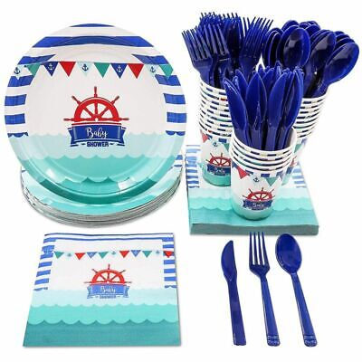 Nautical Themed Dinnerware Sets (Disposable Dinnerware Set for 24 - Nautical Themed Baby Shower Party)
