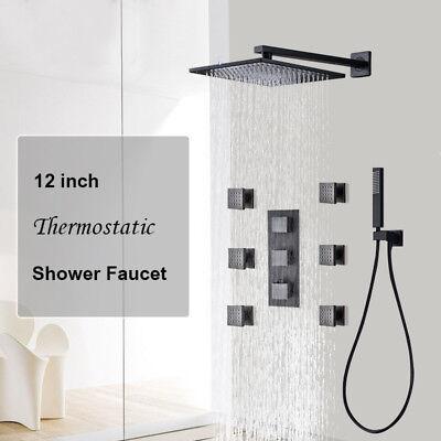 "12""Oil Rubbed Broze Unhip Thermostatic Shower Faucet Massage Jets W/Hand Shower"