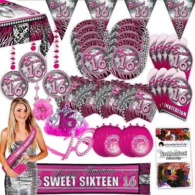 Sweet Sixteen Party (Partypaket 16 Sweet Sixteen pink 63-teilig für 8 Gäste Party Set Geburtstag)