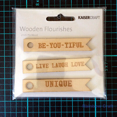 Kaisercraft Wooden Embellishments flourish Pack 18 wording / patterns U select - Word Flags Unique