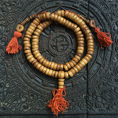 Old Ancient Tibet Hand Carved Yak Bone Buddha Beads Necklace Pendant Bracelet