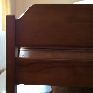 Solid maple double bed with box spring