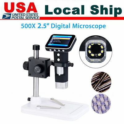 500x Hd Portable Usb Digital Microscope Camera With 3.5 Lcd Screen Stand Us