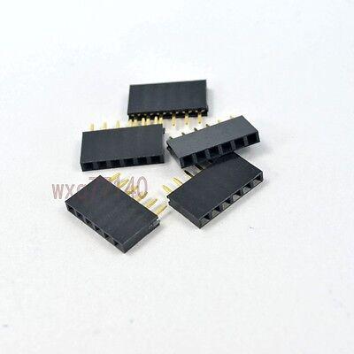 50pcs 2.54mm Pitch 1x 6 Pin Female Single Row Straight Header Connector Pcb Diy