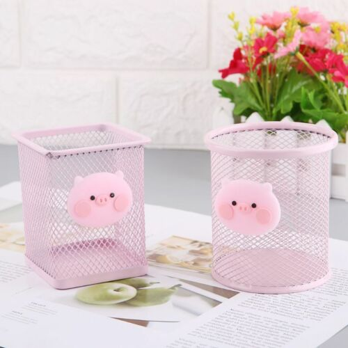 Pen Holder Pink Metal Grid Container Large Capacity Multi-fu