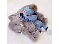 ELEPHANT Toy Cuddly Sleeping PILLOW Plush Stuffed Animal Big Baby Appease Nursery Decor Xmas Gift