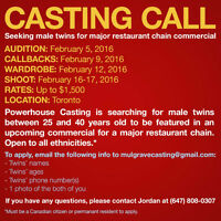 CASTING CALL! SEEKING MALE TWINS FOR COMMERCIAL!