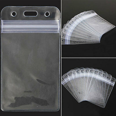 10x Vertical Transparent Clear Id Card Badge Holder Vinyl Plastic Id Card Cover