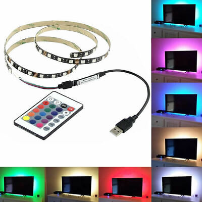 LED Strip Lights 1M-5M 5V 5050 RGB Dimmable USB TV Back Lighting+Remote Control