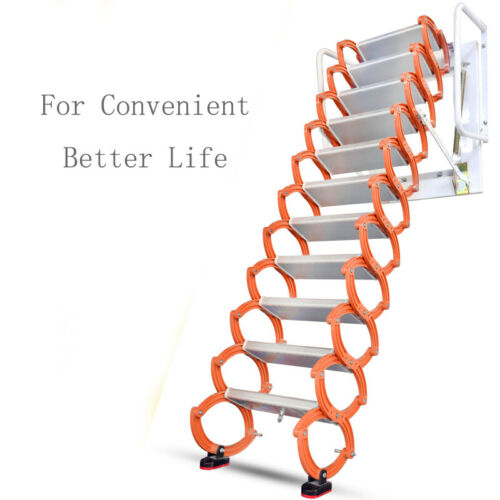 Intbuying New Orange Wall Mounted Collapsible Folding Ladder Loft Stairs