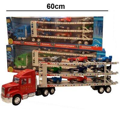 Autotransporter Truck Laster Autos LKW mit 9 RENNAUTOS Spielzeug XXL Transporter