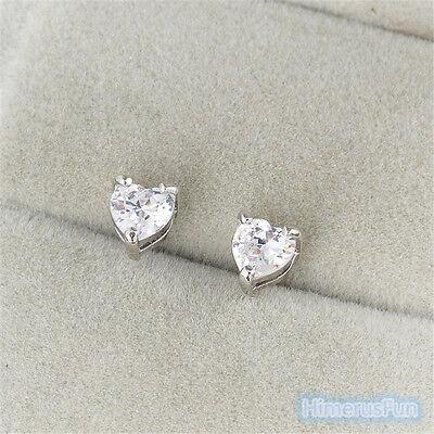 18k Brilliant Cut Stud - 18K White Gold Plated Stud Earrings Heart Brilliant Cut white CZ's Nickel Free