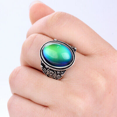 Women Fancy Gift Jewelry Large Colors Change Mood Oval Stone Ring Size 7 8 9 10 Mood Stone Rings