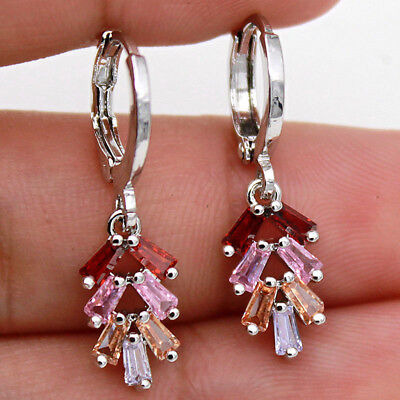 Morganite White Earrings (18K White Gold Filled -  Ruby Morganite Pink Quartz Zircon String Ball)