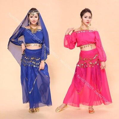 Belly Dancing Top Hip Scarf Skirt Suit Set Hollywood Theme Party Fancy Costumes](Hollywood Dance Theme)