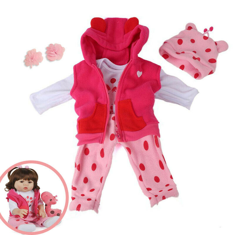22inch(55cm)Reborn Doll Clothes Suit Bebe Girl Doll Outfit Set Coat Romper Pants