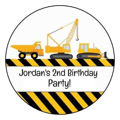12 Personalized Construction trucks birthday party stickers favors labels - Construction Party Favors