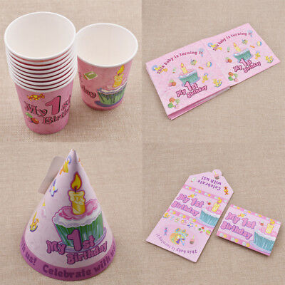 Girl First Birthday Party Set Baby Party Supplies Pack Plates/Napkins/Tablecloth