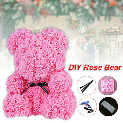 Valentines Party Decor (Artificial Flower Head Foam Rose Bear Valentine's Day Gifts Party Wedding)