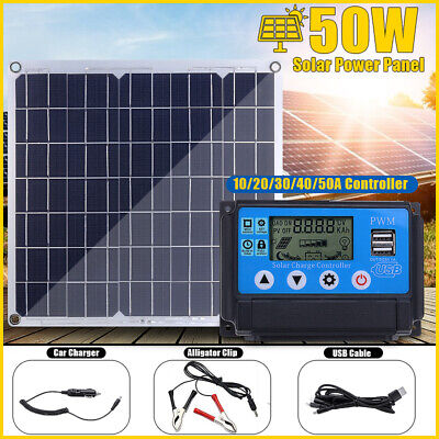 50W Dual 12V/5V USB Solar Power Panel Car Boat Battery Charger + 50A