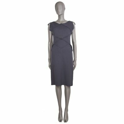 55581 auth BOTTEGA VENETA grey wool PATCHWORK Cap Sleeve Dress 44 L