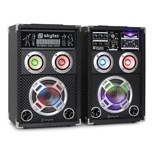 PARTY KARAOKE PA DJ AKTIV LAUTSPRECHER SET PAAR16CM BOXEN USB SD MP3 PLAYER NEU