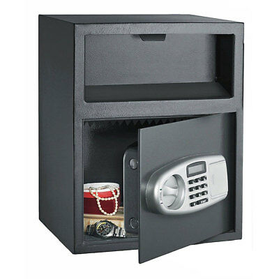 Digital Safe Box Depository Drop Deposit Front Load Cash Money Vault Lock Home