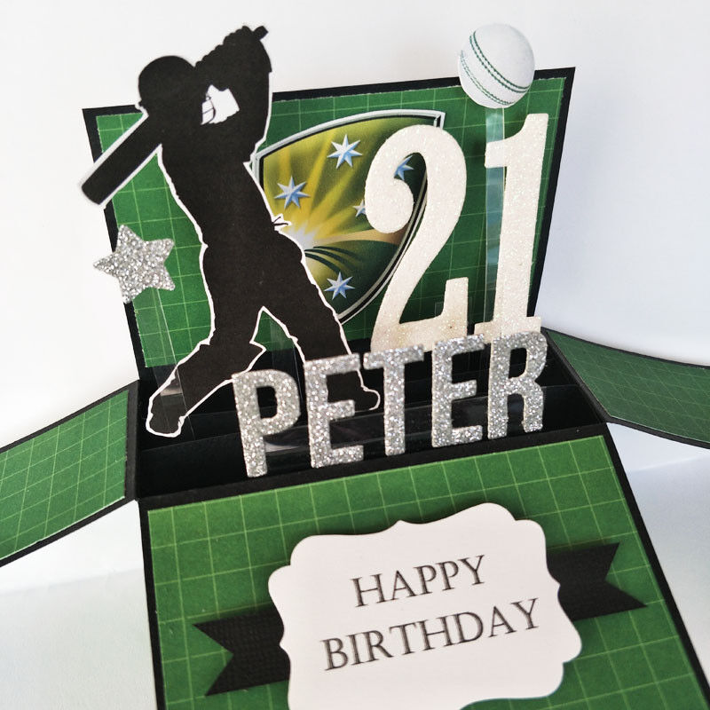 Handmade Name & age Personalised birthday card, cricket birthday card