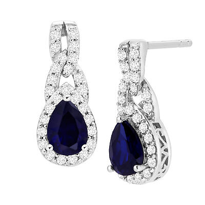 2 1/5 ct Created Blue & White Sapphire Drop Earrings in Sterling Silver