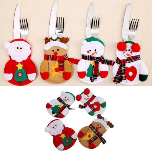 4Pcs Christmas Table Cutlery Decorations Santa Cutlery Holder Mat For Knife Fork