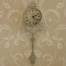 Cream metal small wall clock pendulum shabby french chic living room bedroom